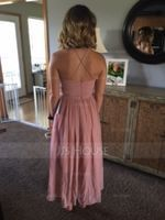 A-Line/Princess Scoop Neck Asymmetrical Chiffon Bridesmaid Dress With Ruffle (266176987)