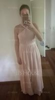 A-Line/Princess V-neck Floor-Length Chiffon Bridesmaid Dress With Bow(s) Cascading Ruffles (266177061)