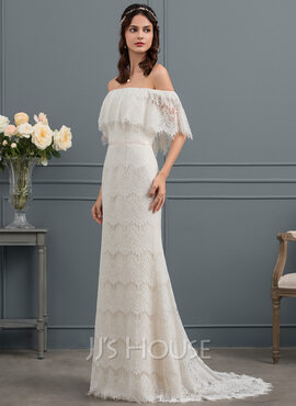 Trumpet/Mermaid Off-the-Shoulder Sweep Train Lace Wedding Dress With Bow(s) (002153461)