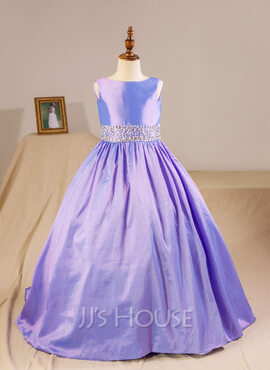 Ball Gown Floor-length Flower Girl Dress - Taffeta Sleeveless Scoop Neck With Beading (Petticoat NOT included) (010094149)