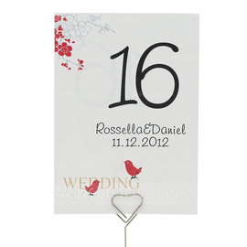 """Personalized """"Cherry Blossom and Love Birds"""" Pearl Paper Table Number Cards (Set of 10) (118032268)"""