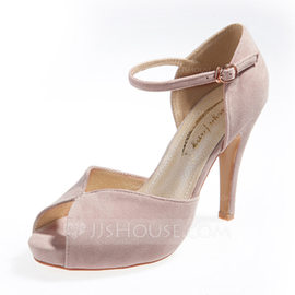 Suede Stiletto Heel Sandals Pumps Platform Peep Toe With Buckle shoes