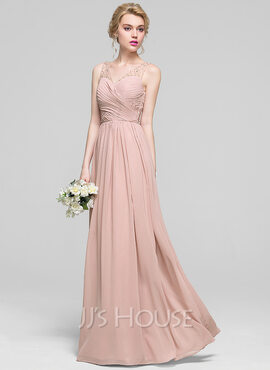 A-Line/Princess V-neck Floor-Length Chiffon Bridesmaid Dress With Ruffle Beading Sequins (266183725)