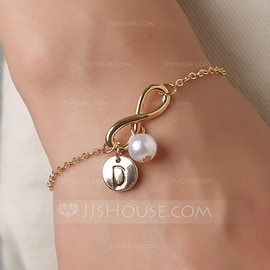 Bridesmaid Gifts - Personalized Solid Color Alloy Imitation Pearls Bracelet (256198340)