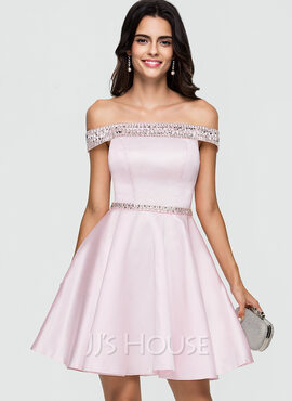 A-Line Off-the-Shoulder Short/Mini Satin Homecoming Dress With Beading Sequins (022164851)