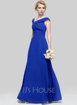 A-Line/Princess V-neck Floor-Length Chiffon Bridesmaid Dress With Ruffle (007090205)