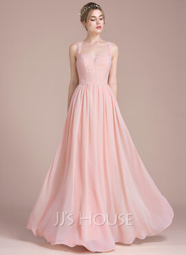A-Line/Princess Floor-Length Chiffon Lace Bridesmaid Dress With Beading Sequins (007104707)
