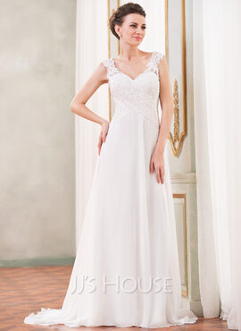 A-Line/Princess V-neck Sweep Train Chiffon Wedding Dress With Lace Beading Sequins (002042294)