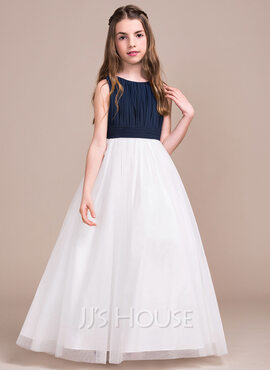 A-Line/Princess Scoop Neck Floor-Length Chiffon Tulle Junior Bridesmaid Dress With Ruffle (268183927)