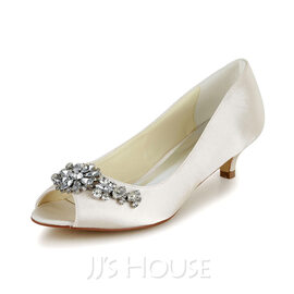 Women's Satin Cone Heel Peep Toe Sandals With Rhinestone (047048524)