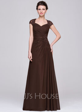 A-Line Sweetheart Floor-Length Chiffon Mother of the Bride Dress With Ruffle Lace Beading Sequins (008056888)