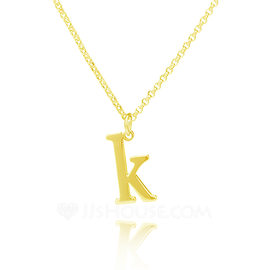 Custom 18k Gold Plated Silver Initial Letter Name Necklace Initial Necklace - Valentines Gifts (288215472)