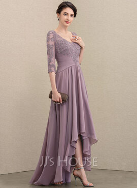 A-Line V-neck Asymmetrical Chiffon Lace Evening Dress With Sequins (017211393)