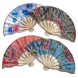 Floral Design Bamboo/Silk Hand fan (Set of 4) (051040143)