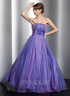Ball-Gown Strapless Floor-Length Organza Quinceanera Dress With Beading (021021126)