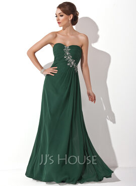 A-Line/Princess Sweetheart Floor-Length Chiffon Holiday Dress With Ruffle Beading (020025946)