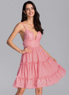 A-Line V-neck Knee-Length Chiffon Homecoming Dress With Bow(s) Cascading Ruffles (022206520)