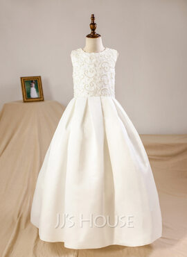 Ball Gown Floor-length Flower Girl Dress - Satin Sleeveless Scoop Neck With Beading (Petticoat NOT included)