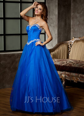 Ball-Gown Sweetheart Floor-Length Tulle Quinceanera Dress With Beading Appliques Lace Sequins (021020808)