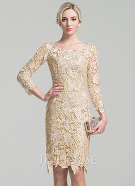Sheath/Column Scoop Neck Knee-Length Lace Mother of the Bride Dress (008091944)