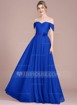 A-Line Off-the-Shoulder Floor-Length Tulle Bridesmaid Dress With Ruffle Flower(s) (007114644)