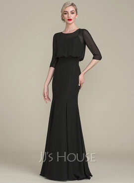 Trumpet/Mermaid Scoop Neck Floor-Length Chiffon Mother of the Bride Dress With Ruffle (008102698)