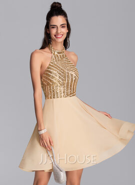 A-Line Halter Short/Mini Chiffon Homecoming Dress (022206542)