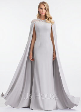 Sheath/Column Scoop Neck Floor-Length Stretch Crepe Evening Dress (017198668)