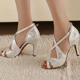 Women's Satin Heels Pumps Latin With Ankle Strap Dance Shoes (053108787)