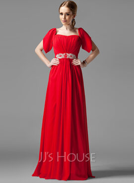 A-Line/Princess Square Neckline Floor-Length Chiffon Holiday Dress With Ruffle Beading Sequins (020039558)