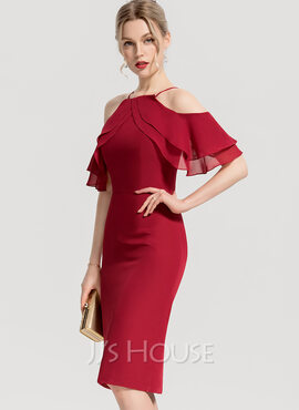 Sheath/Column Square Neckline Knee-Length Chiffon Cocktail Dress With Cascading Ruffles (016154216)