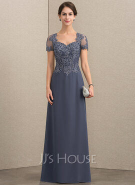 A-Line/Princess Sweetheart Floor-Length Chiffon Lace Mother of the Bride Dress With Beading Sequins (008152155)