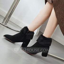 Women's Suede Chunky Heel Pumps Boots Ankle Boots With Zipper Faux-Fur shoes (088221283)