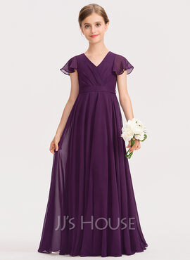 A-Line V-neck Floor-Length Chiffon Junior Bridesmaid Dress With Bow(s) Cascading Ruffles (009191729)