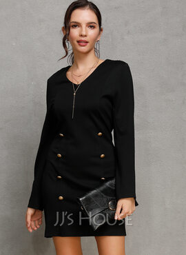 Polyester With Button/Solid Above Knee Dress (199222057)