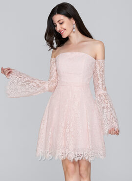 A-Line Off-the-Shoulder Short/Mini Lace Homecoming Dress (022124878)