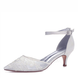 Women's Mesh Flat Heel Closed Toe Pumps With Applique (047187628)