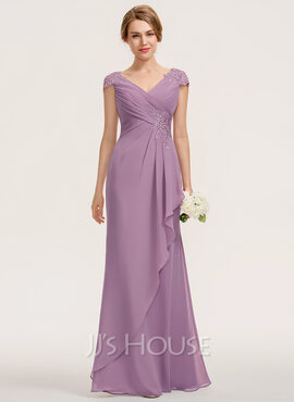 A-Line V-neck Floor-Length Chiffon Lace Bridesmaid Dress With Cascading Ruffles (007190695)