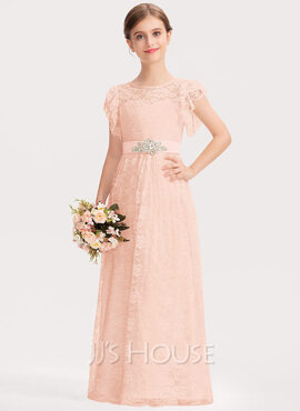 A-Line Scoop Neck Floor-Length Lace Junior Bridesmaid Dress With Beading Bow(s) Cascading Ruffles (009191714)