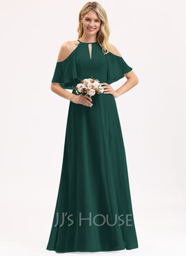 A-Line Scoop Neck Floor-Length Chiffon Bridesmaid Dress (007206455)