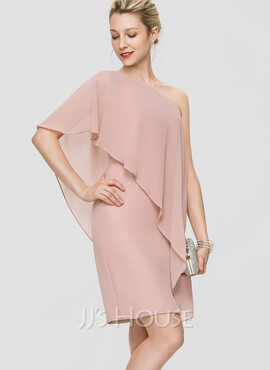 Sheath/Column One-Shoulder Knee-Length Chiffon Cocktail Dress With Cascading Ruffles (016189346)
