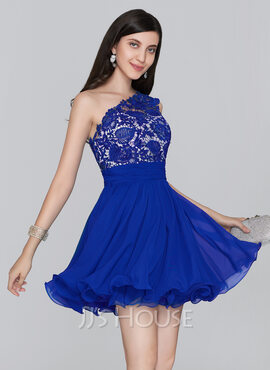 A-Line/Princess One-Shoulder Short/Mini Chiffon Homecoming Dress With Ruffle (022124844)