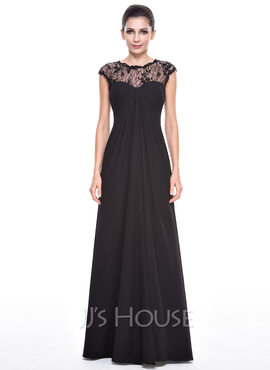 Empire Scoop Neck Floor-Length Chiffon Lace Evening Dress With Ruffle Beading Sequins (017056515)