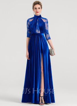 A-Line/Princess High Neck Floor-Length Velvet Evening Dress With Beading Sequins Split Front (017149491)
