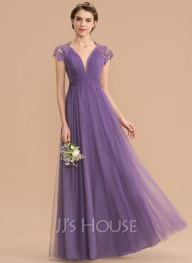 A-Line V-neck Floor-Length Tulle Lace Bridesmaid Dress With Ruffle (007176749)