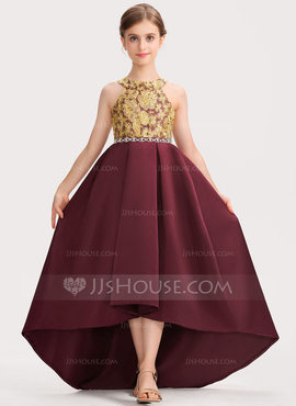 A-Line Scoop Neck Asymmetrical Satin Lace Junior Bridesmaid Dress With Beading Bow(s) (009191712)
