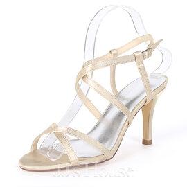 Women's Silk Like Satin Stiletto Heel Pumps Sandals With Buckle (047170363)
