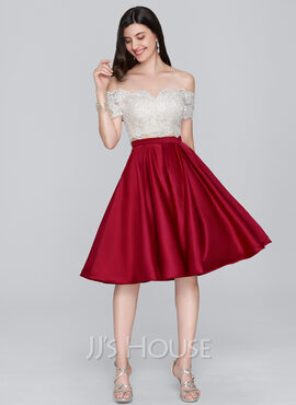 A-Line Off-the-Shoulder Knee-Length Satin Homecoming Dress (022124850)