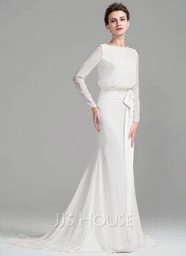 Sheath/Column Scoop Neck Court Train Chiffon Wedding Dress With Ruffle Bow(s) (002076025)