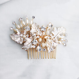 Ladies Pretty Alloy/Beads Combs & Barrettes With Rhinestone/Venetian Pearl (042220359)